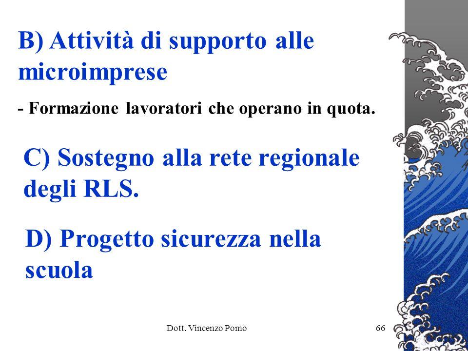 Dott. Vincenzo Pomo66 B) Attività di supporto alle microimprese - Formazione lavoratori che operano in quota. C) Sostegno alla rete regionale degli RL