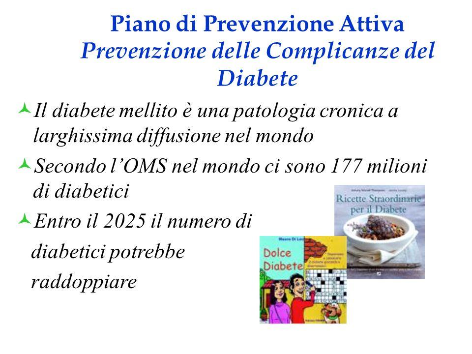 Piano di Prevenzione Attiva _____ Prevenzione delle Complicanze del Diabete____ Nella regione Puglia la prevalenza di soggetti diabetici è pari al 5.4% dellintera popolazione.