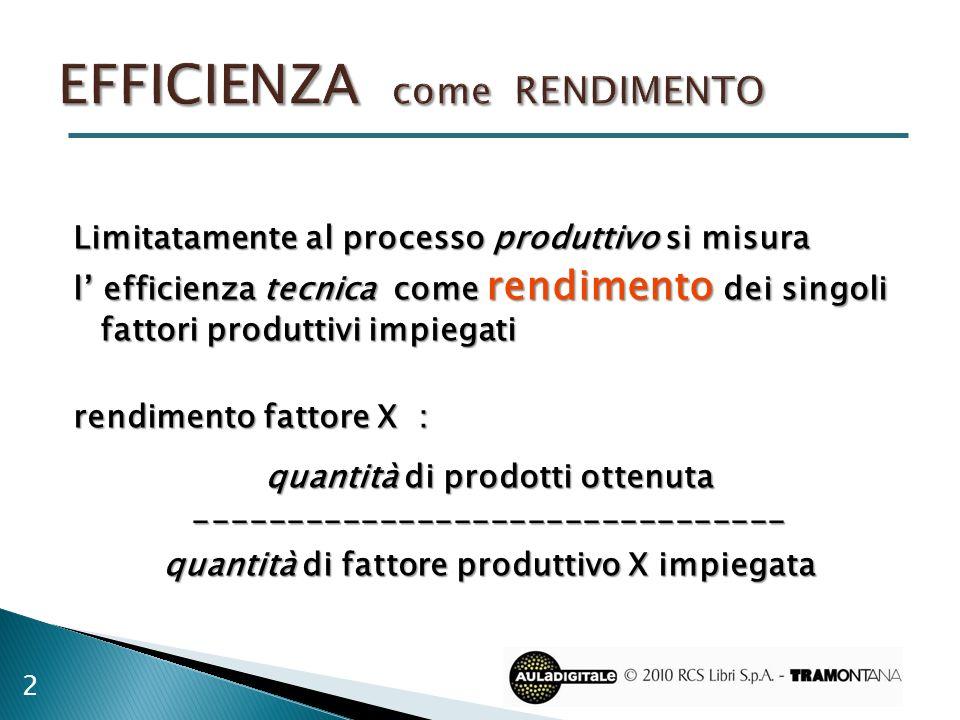 Limitatamente al processo produttivo si misura l efficienza tecnica come rendimento dei singoli fattori produttivi impiegati rendimento fattore X : qu