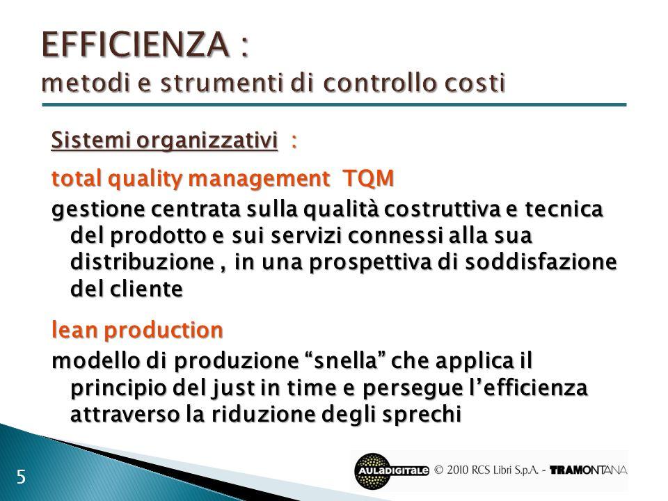 Sistemi organizzativi : total quality management TQM gestione centrata sulla qualità costruttiva e tecnica del prodotto e sui servizi connessi alla su