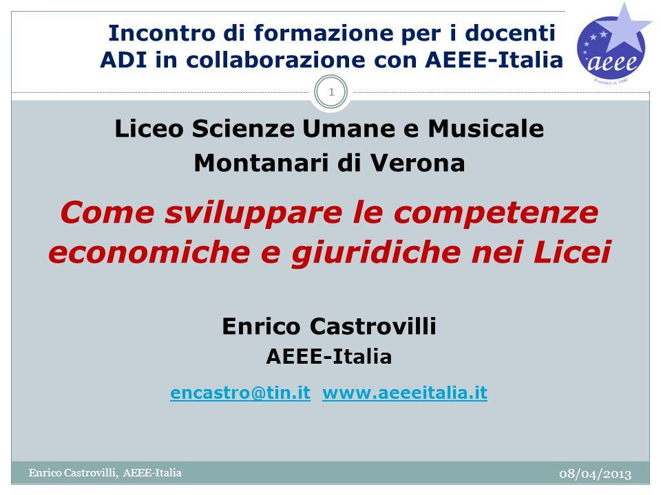 8.Quali sono le materie fondanti il Liceo Economico Sociale 08/04/2013 Enrico Castrovilli, AEEE-Italia 32 1.