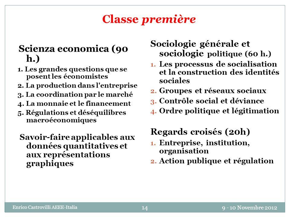 9 - 10 Novembre 2012 Enrico Castrovilli AEEE-Italia 14 Classe première Scienza economica (90 h.) 1. Les grandes questions que se posent les économiste