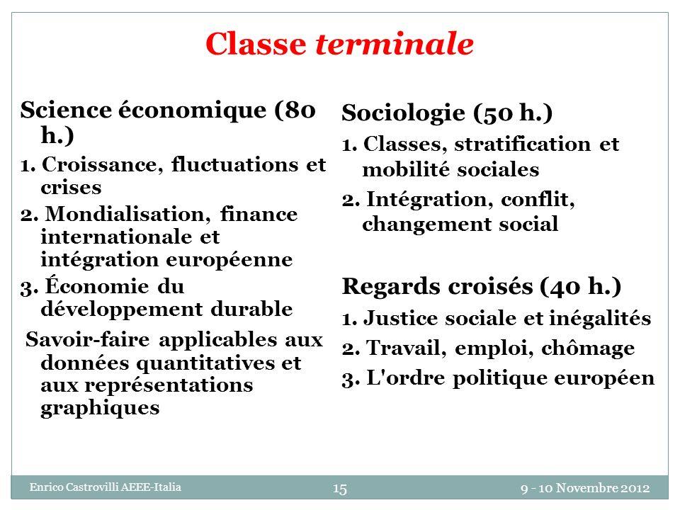 9 - 10 Novembre 2012 Enrico Castrovilli AEEE-Italia 15 Classe terminale Science économique (80 h.) 1. Croissance, fluctuations et crises 2. Mondialisa