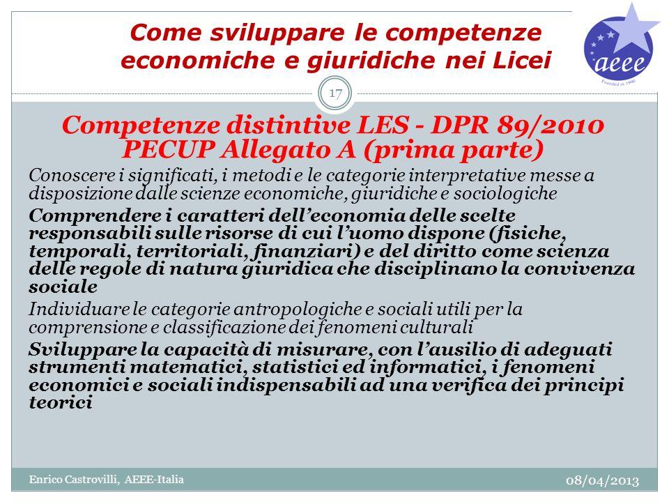 Come sviluppare le competenze economiche e giuridiche nei Licei Competenze distintive LES - DPR 89/2010 PECUP Allegato A (prima parte) Conoscere i sig