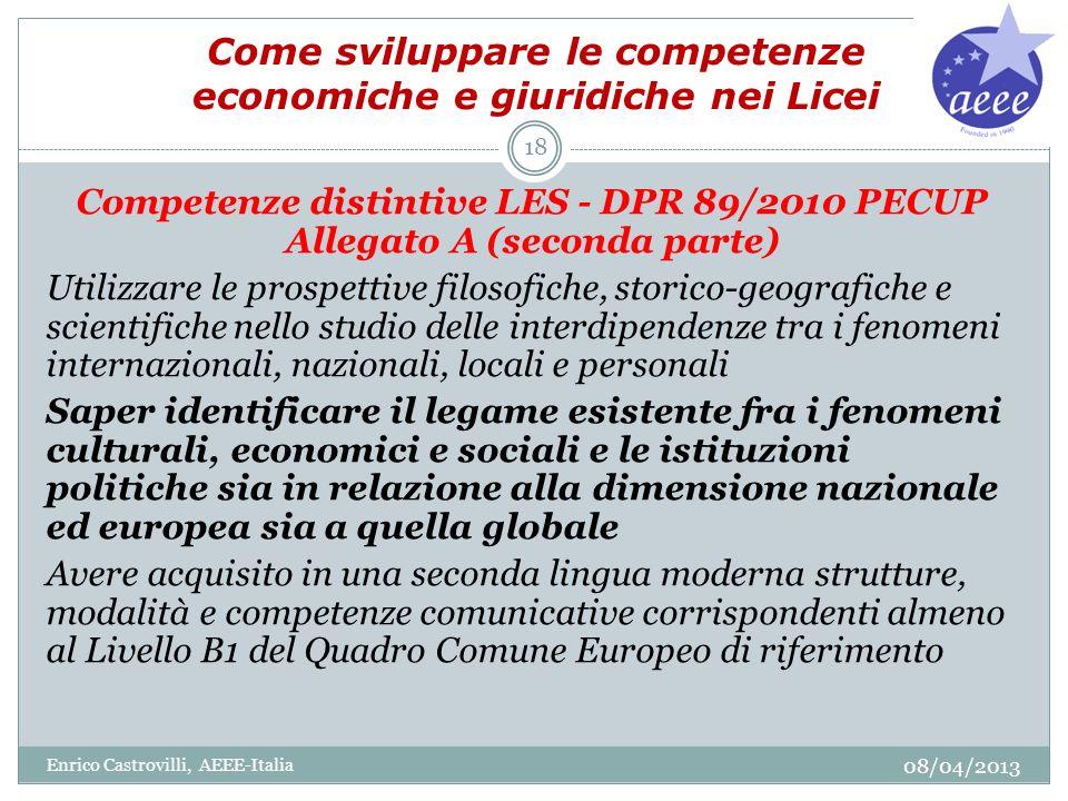 Come sviluppare le competenze economiche e giuridiche nei Licei Competenze distintive LES - DPR 89/2010 PECUP Allegato A (seconda parte) Utilizzare le