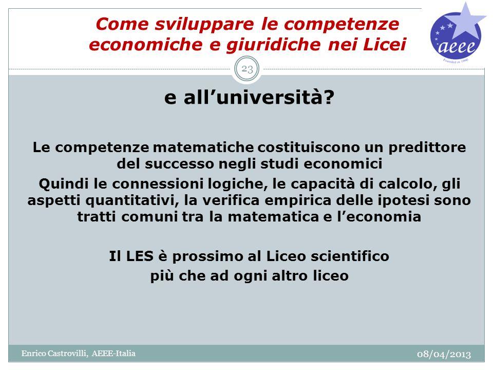 Come sviluppare le competenze economiche e giuridiche nei Licei e alluniversità? Le competenze matematiche costituiscono un predittore del successo ne