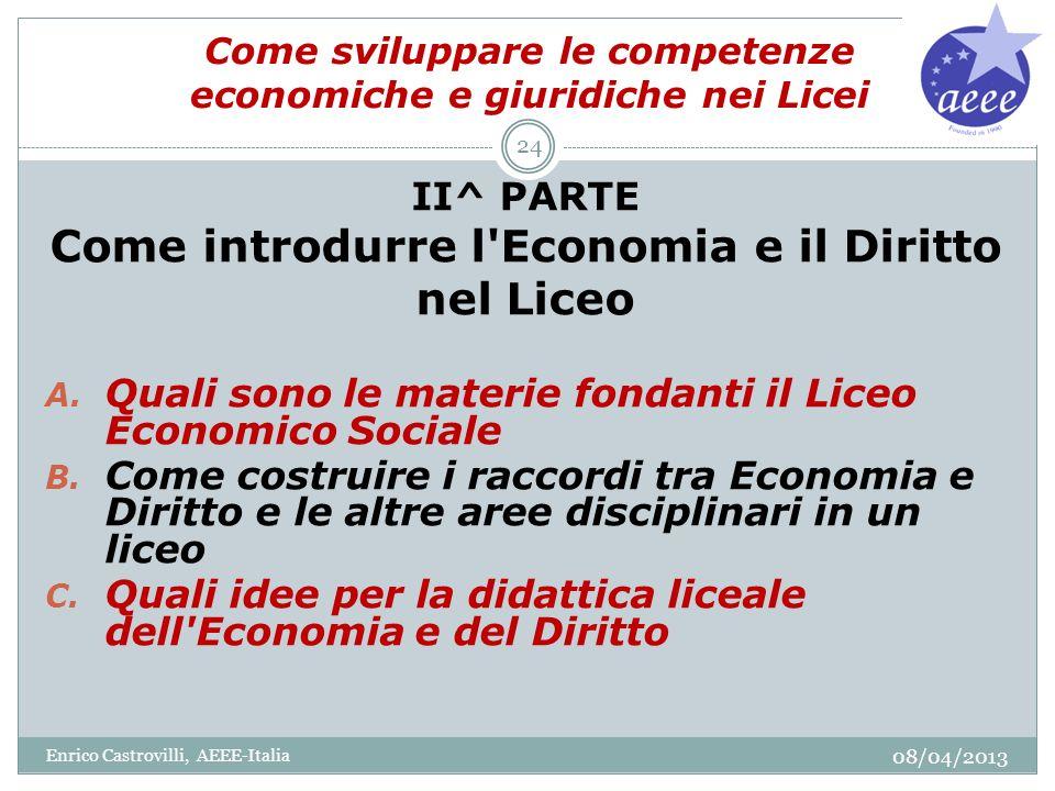 Come sviluppare le competenze economiche e giuridiche nei Licei II^ PARTE Come introdurre l'Economia e il Diritto nel Liceo A. Quali sono le materie f