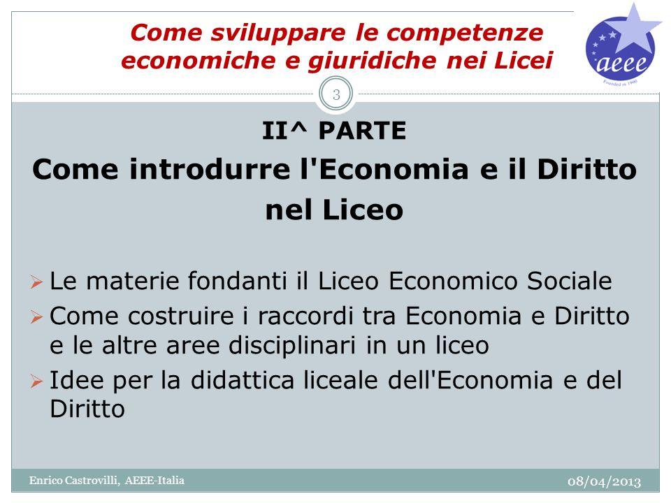 Come sviluppare le competenze economiche e giuridiche nei Licei II^ PARTE Come introdurre l'Economia e il Diritto nel Liceo Le materie fondanti il Lic