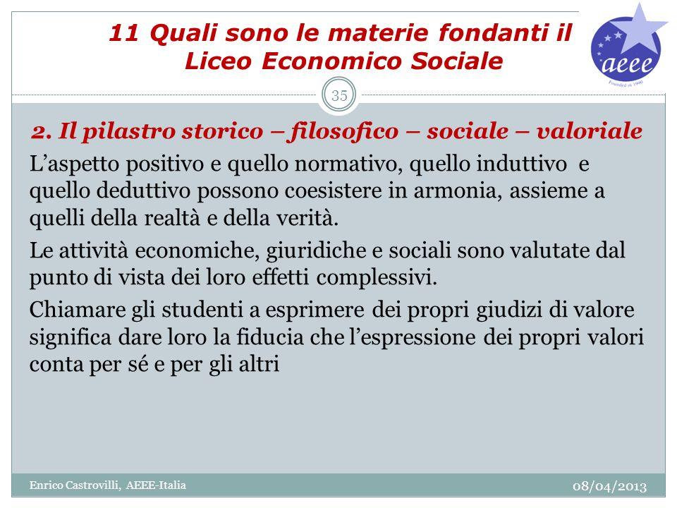 11 Quali sono le materie fondanti il Liceo Economico Sociale 2. Il pilastro storico – filosofico – sociale – valoriale Laspetto positivo e quello norm