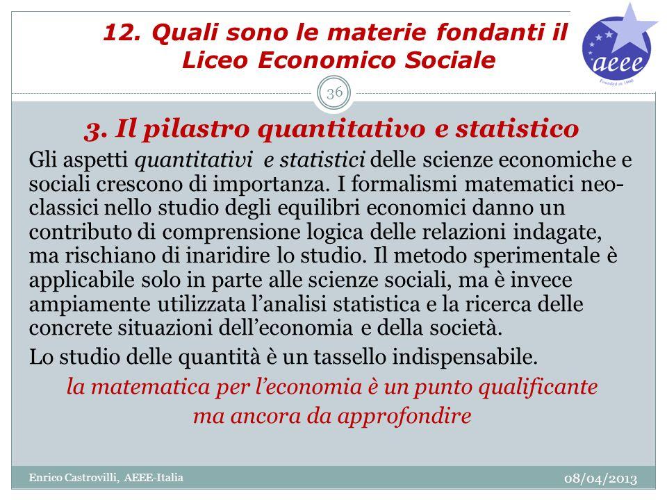 12. Quali sono le materie fondanti il Liceo Economico Sociale 3. Il pilastro quantitativo e statistico Gli aspetti quantitativi e statistici delle sci