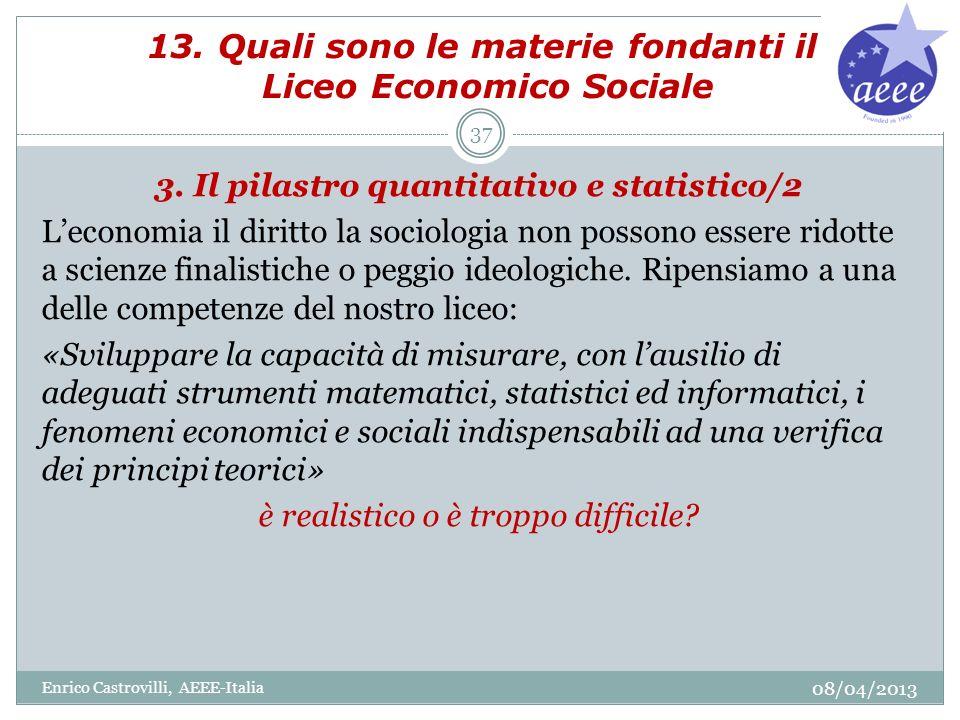 13. Quali sono le materie fondanti il Liceo Economico Sociale 3. Il pilastro quantitativo e statistico/2 Leconomia il diritto la sociologia non posson