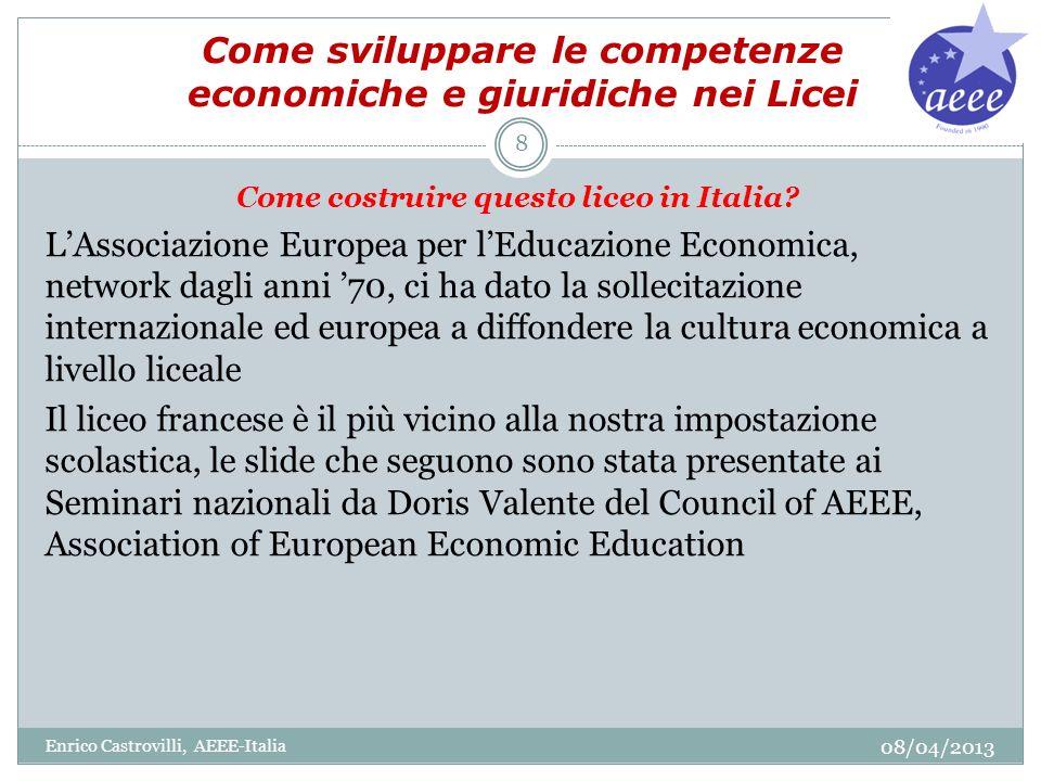 Come sviluppare le competenze economiche e giuridiche nei Licei Come costruire questo liceo in Italia? LAssociazione Europea per lEducazione Economica
