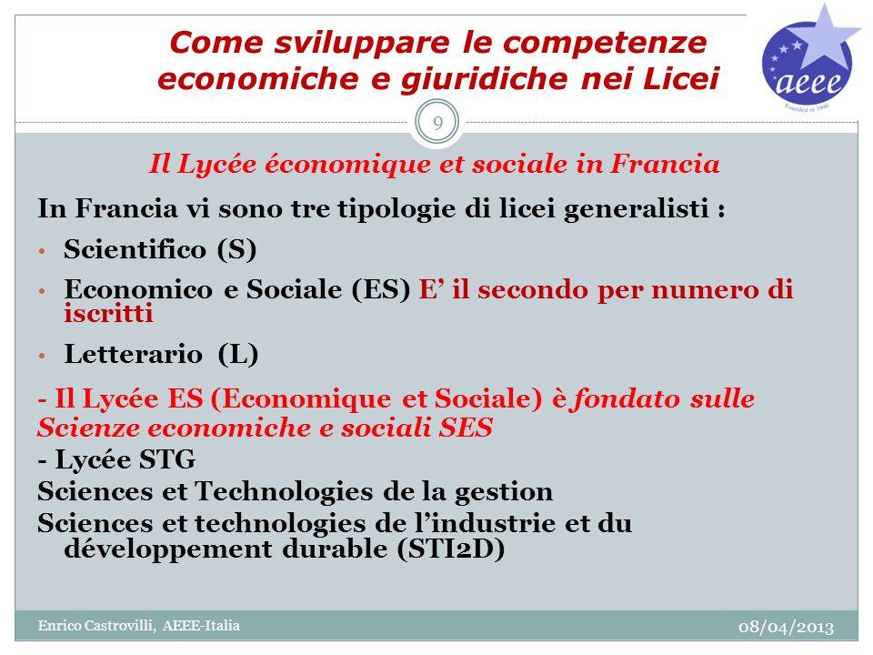 Come sviluppare le competenze economiche e giuridiche nei Licei Il Lycée économique et sociale in Francia In Francia vi sono tre tipologie di licei ge