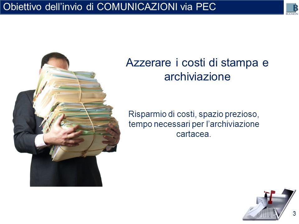 Azzerare i costi di stampa e archiviazione Obiettivo dellinvio di COMUNICAZIONI via PEC Risparmio di costi, spazio prezioso, tempo necessari per larch