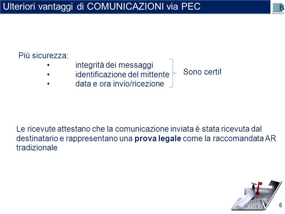 Ulteriori vantaggi di COMUNICAZIONI via PEC Le ricevute attestano che la comunicazione inviata è stata ricevuta dal destinatario e rappresentano una p