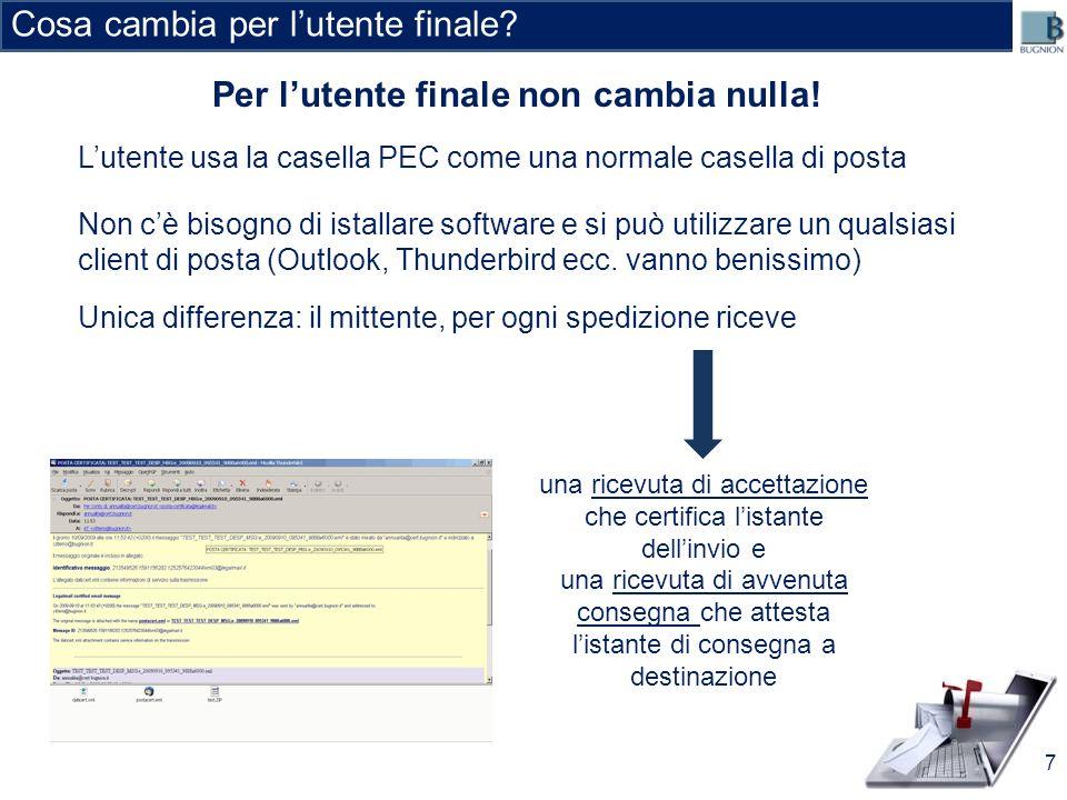 DATA, ORA E CONTENUTI CERTI MESSAGGIO RICEVUTO Esempio 8 cliente@cert.cliente.it