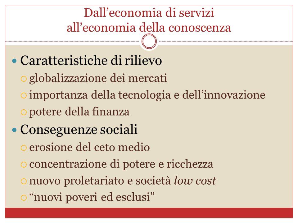 Dalleconomia di servizi alleconomia della conoscenza Caratteristiche di rilievo globalizzazione dei mercati importanza della tecnologia e dellinnovazi