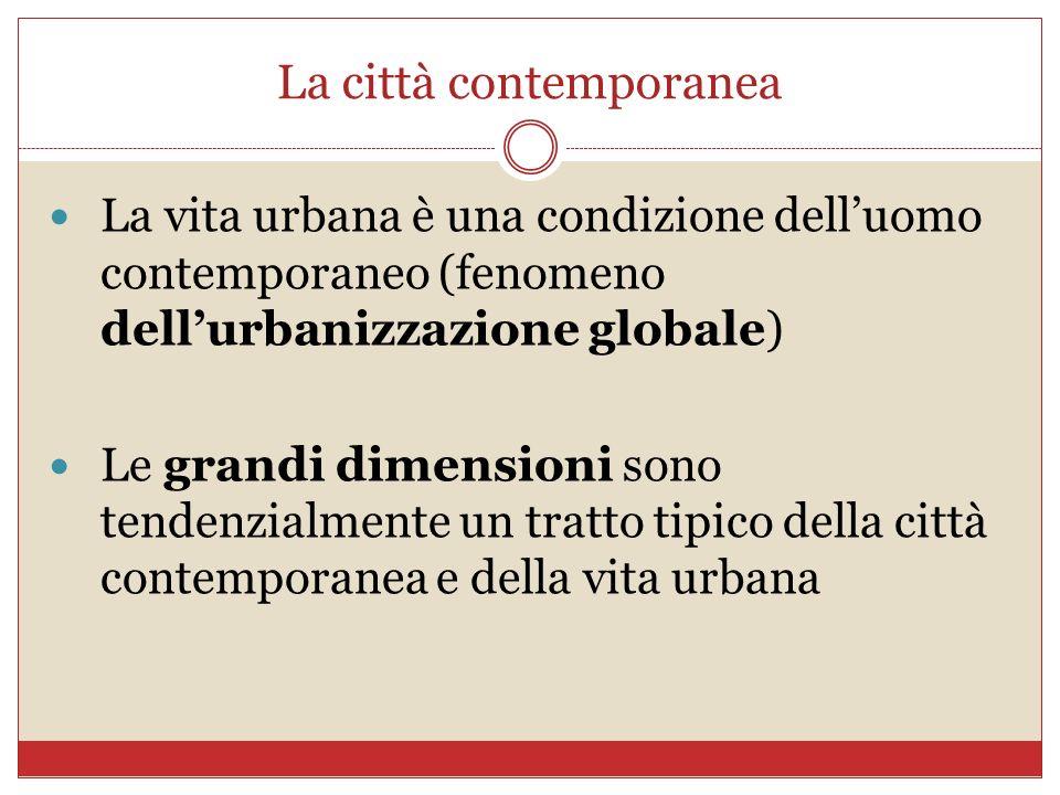La città contemporanea La vita urbana è una condizione delluomo contemporaneo (fenomeno dellurbanizzazione globale) Le grandi dimensioni sono tendenzi
