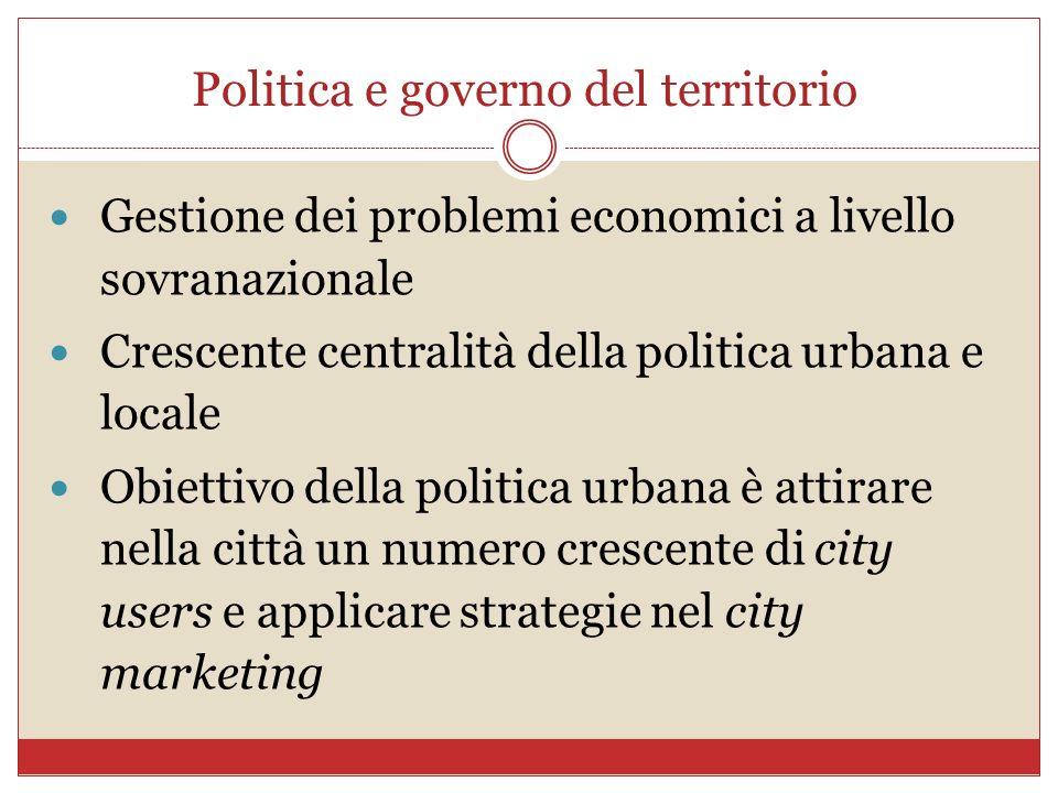Politica e governo del territorio Gestione dei problemi economici a livello sovranazionale Crescente centralità della politica urbana e locale Obietti