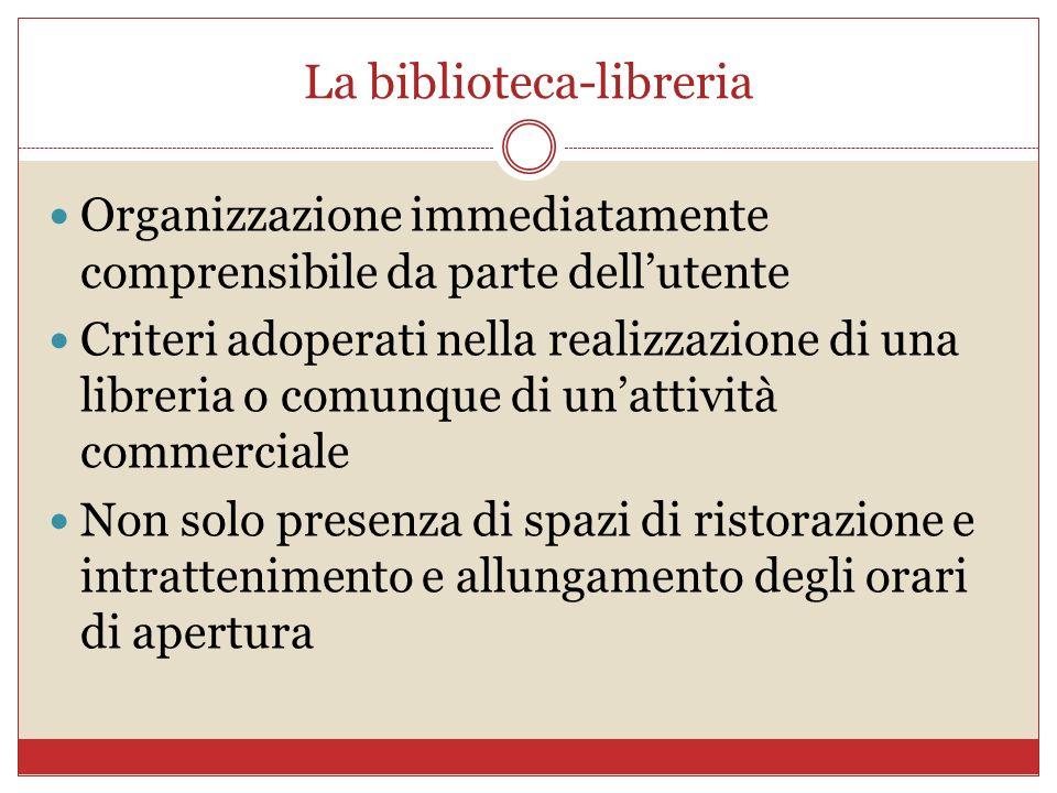 La biblioteca-libreria Organizzazione immediatamente comprensibile da parte dellutente Criteri adoperati nella realizzazione di una libreria o comunqu