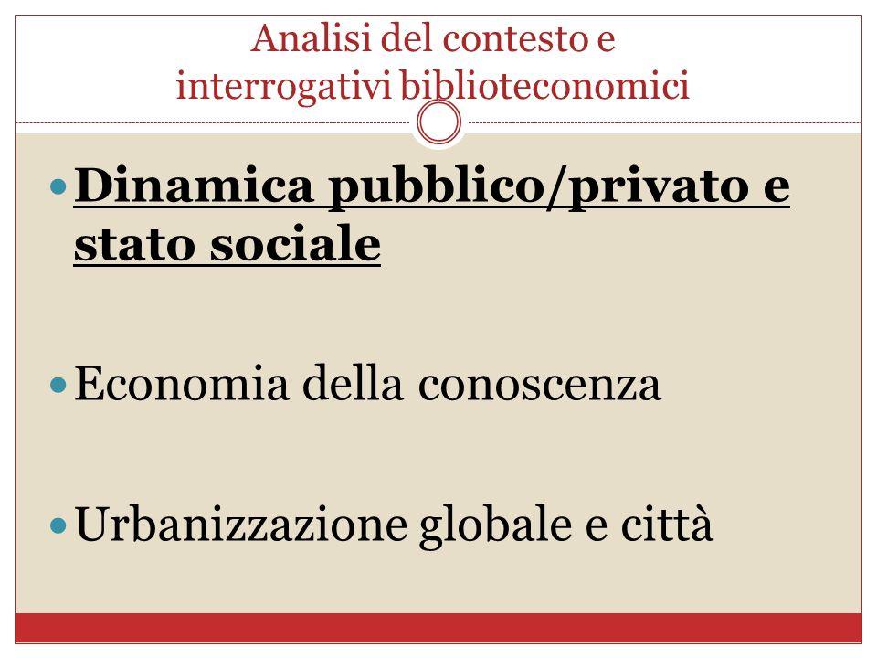 Analisi del contesto e interrogativi biblioteconomici Dinamica pubblico/privato e stato sociale Economia della conoscenza Urbanizzazione globale e cit