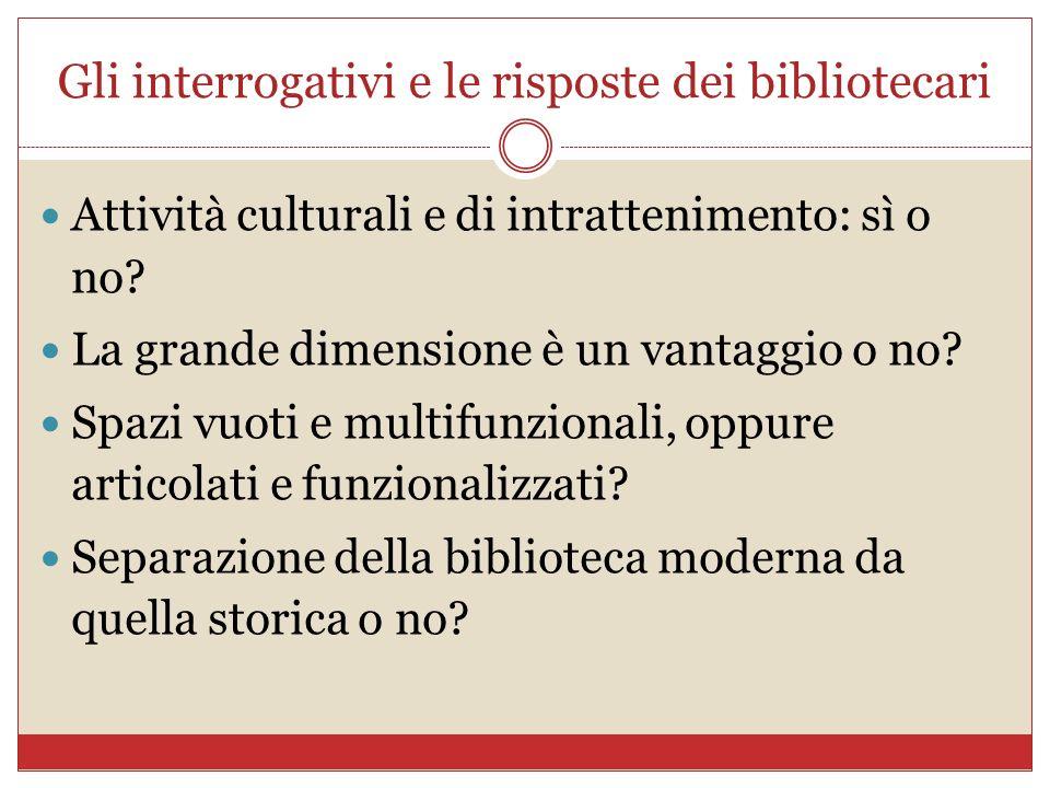 Gli interrogativi e le risposte dei bibliotecari Attività culturali e di intrattenimento: sì o no? La grande dimensione è un vantaggio o no? Spazi vuo