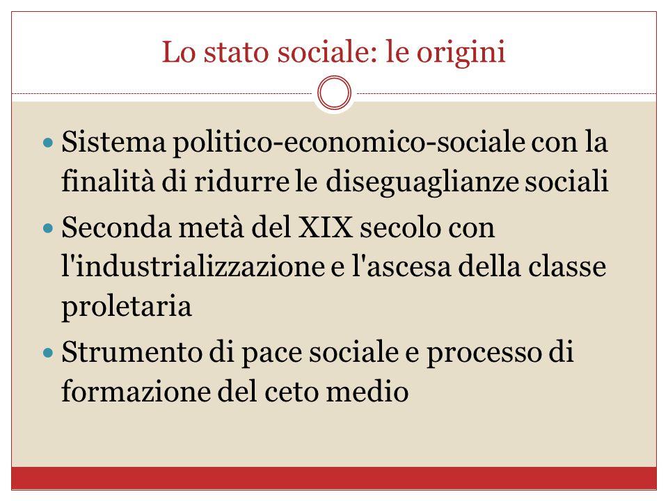 Lo stato sociale: le origini Sistema politico-economico-sociale con la finalità di ridurre le diseguaglianze sociali Seconda metà del XIX secolo con l