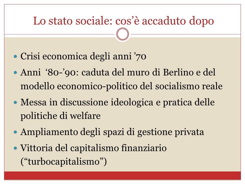 Lo stato sociale: cosè accaduto dopo Crisi economica degli anni 70 Anni 80-90: caduta del muro di Berlino e del modello economico-politico del sociali