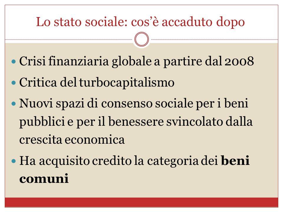 Lo stato sociale: cosè accaduto dopo Crisi finanziaria globale a partire dal 2008 Critica del turbocapitalismo Nuovi spazi di consenso sociale per i b