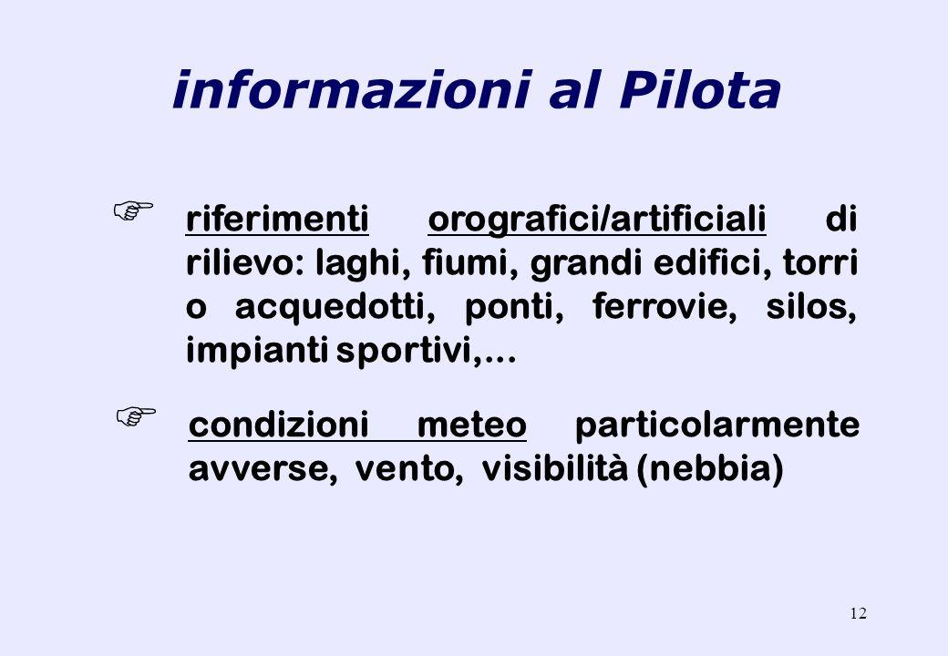 11 comunicazioni radio (sintetiche, ben scandite e senza fretta) indicazioni destra e sinistra rispetto al movimento (prua) dellelicottero informazion