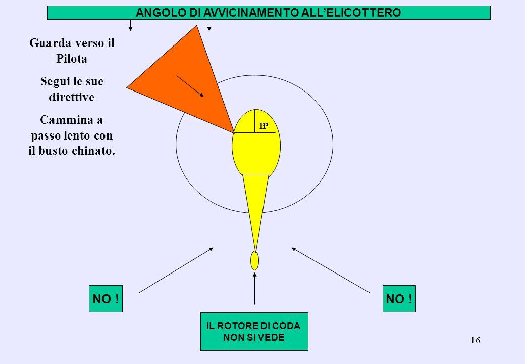 15 Come avvicinarsi allelicottero (segue) Ci si avvicinerà solo se autorizzati dal Pilota, provenendo obliquamente al muso dellelicottero (non dalla c