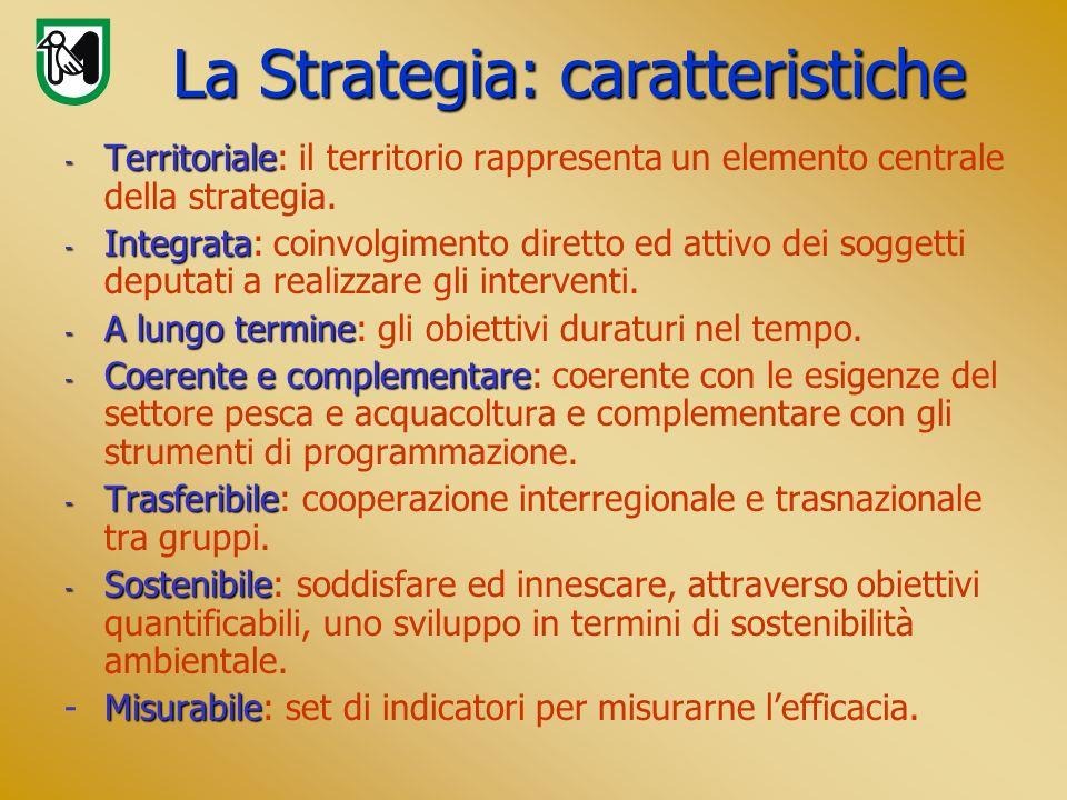 La Strategia: caratteristiche - Territoriale - Territoriale: il territorio rappresenta un elemento centrale della strategia. - Integrata - Integrata: