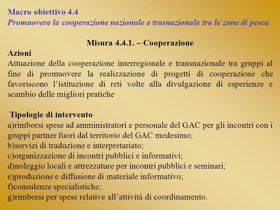 Macro obiettivo 4.4 Promuovere la cooperazione nazionale e trasnazionale tra le zone di pesca Misura 4.4.1. – Cooperazione Azioni Attuazione della coo