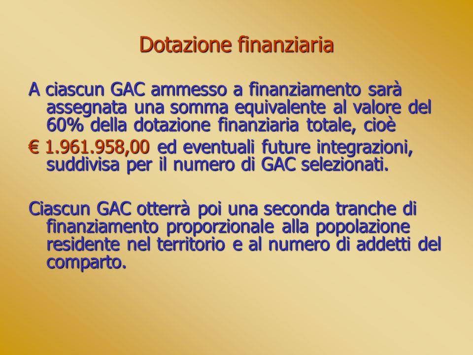 Dotazione finanziaria A ciascun GAC ammesso a finanziamento sarà assegnata una somma equivalente al valore del 60% della dotazione finanziaria totale,