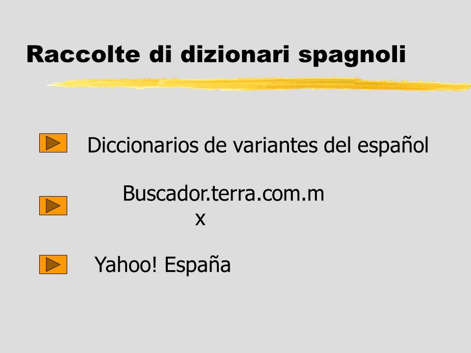 Raccolte di dizionari spagnoli Diccionarios de variantes del español Buscador.terra.com.m x Yahoo! España