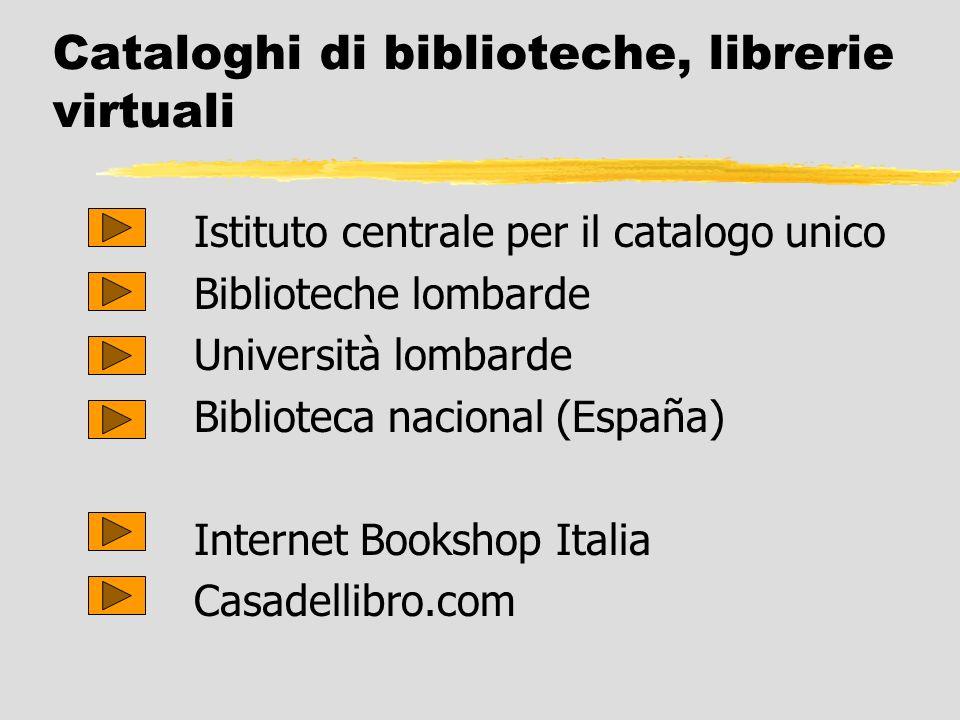 Cataloghi di biblioteche, librerie virtuali Istituto centrale per il catalogo unico Biblioteche lombarde Università lombarde Biblioteca nacional (Espa