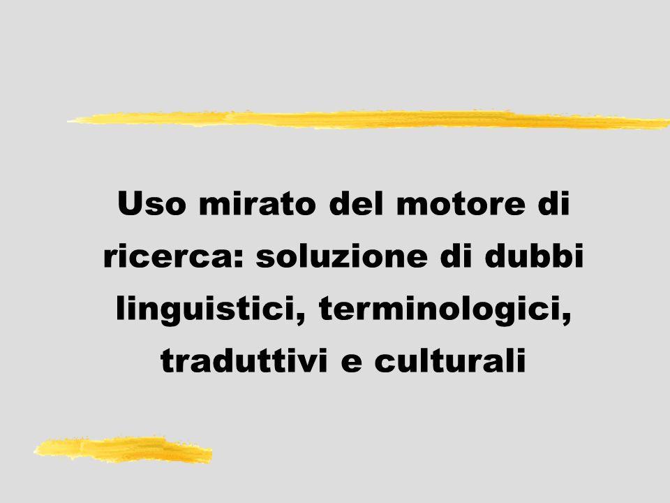 Uso mirato del motore di ricerca: soluzione di dubbi linguistici, terminologici, traduttivi e culturali
