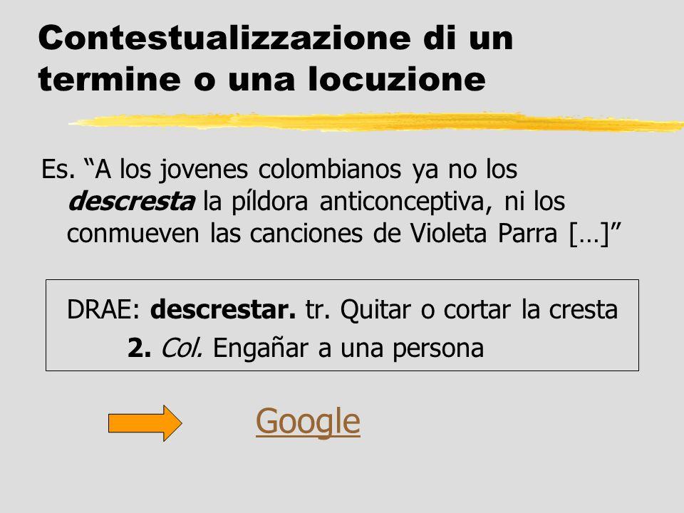 Contestualizzazione di un termine o una locuzione Es. A los jovenes colombianos ya no los descresta la píldora anticonceptiva, ni los conmueven las ca