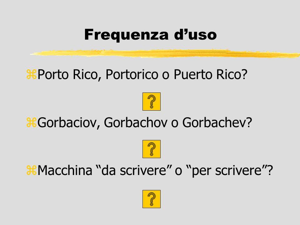 Frequenza duso zPorto Rico, Portorico o Puerto Rico? zGorbaciov, Gorbachov o Gorbachev? zMacchina da scrivere o per scrivere?