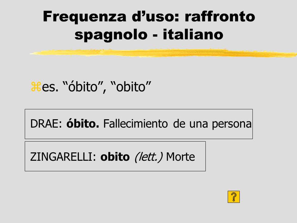 Frequenza duso: raffronto spagnolo - italiano zes. óbito, obito DRAE: óbito. Fallecimiento de una persona ZINGARELLI: obito (lett.) Morte