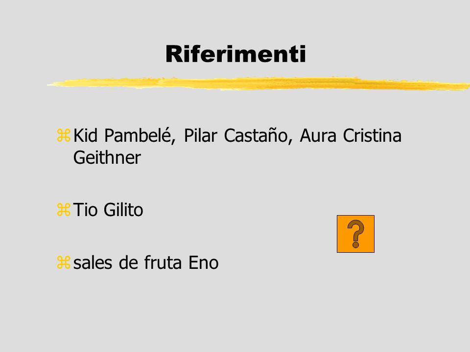 Riferimenti zKid Pambelé, Pilar Castaño, Aura Cristina Geithner zTio Gilito zsales de fruta Eno