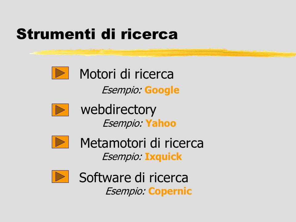 Strumenti di ricerca Motori di ricerca Esempio: Google Software di ricerca Esempio: Copernic Metamotori di ricerca Esempio: Ixquick webdirectory Esemp