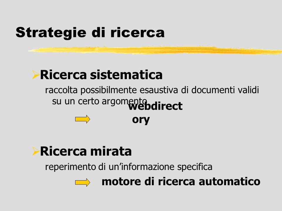Strategie di ricerca Ricerca sistematica raccolta possibilmente esaustiva di documenti validi su un certo argomento Ricerca mirata reperimento di unin