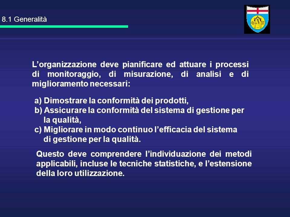 a) Dimostrare la conformità dei prodotti, b) Assicurare la conformità del sistema di gestione per la qualità, c) Migliorare in modo continuo lefficaci