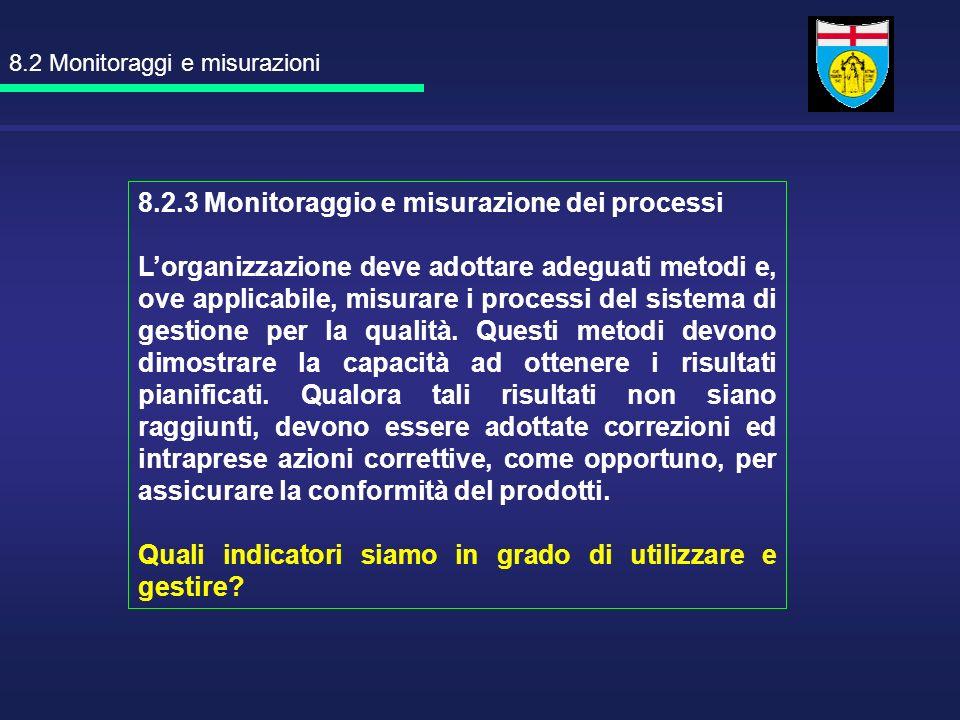 8.2.3 Monitoraggio e misurazione dei processi Lorganizzazione deve adottare adeguati metodi e, ove applicabile, misurare i processi del sistema di ges