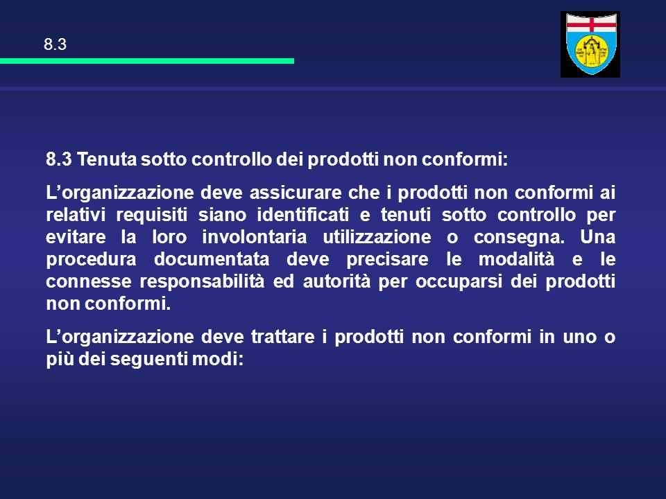 8.3 Tenuta sotto controllo dei prodotti non conformi: Lorganizzazione deve assicurare che i prodotti non conformi ai relativi requisiti siano identifi