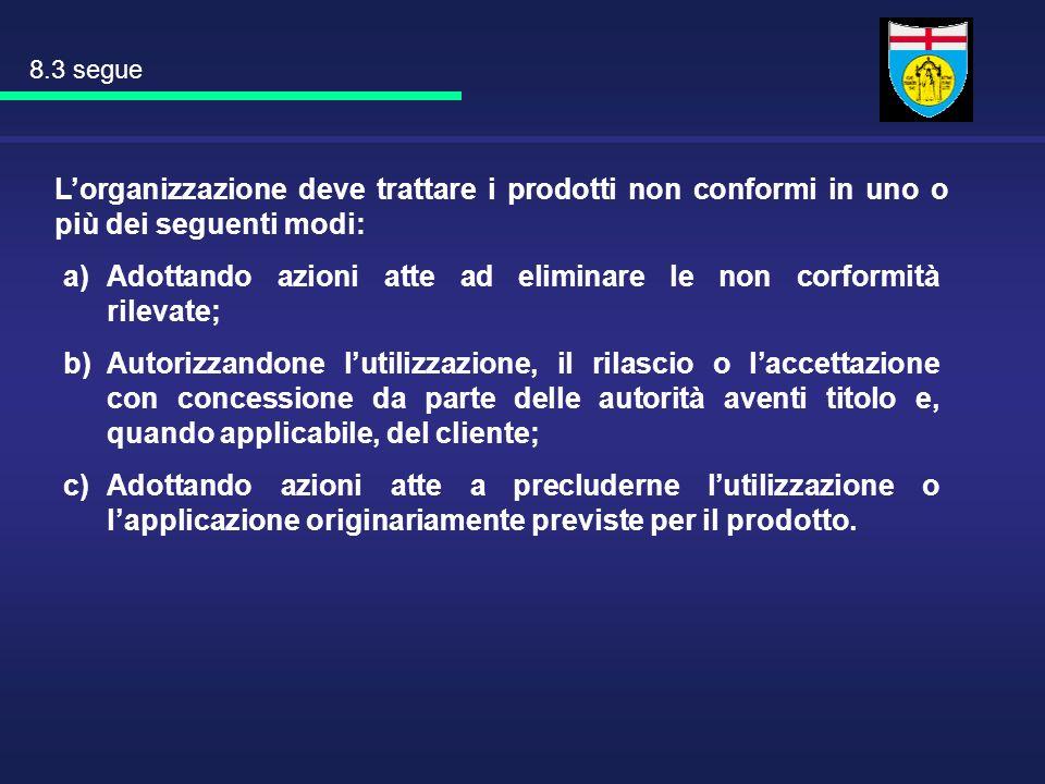 Lorganizzazione deve trattare i prodotti non conformi in uno o più dei seguenti modi: a)Adottando azioni atte ad eliminare le non corformità rilevate;