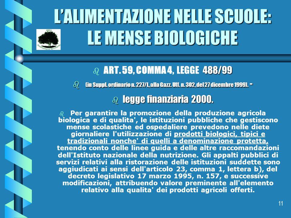 11 LALIMENTAZIONE NELLE SCUOLE: LE MENSE BIOLOGICHE b 488/99 b ART. 59, COMMA 4, LEGGE 488/99 b (in Suppl. ordinario n. 227/L, alla Gazz. Uff. n. 302,
