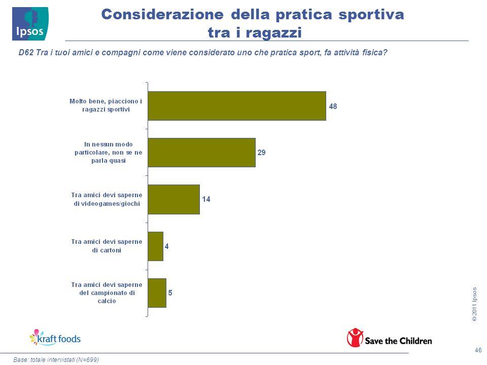 46 © 2011 Ipsos Considerazione della pratica sportiva tra i ragazzi Base: totale intervistati (N=699) D62 Tra i tuoi amici e compagni come viene consi
