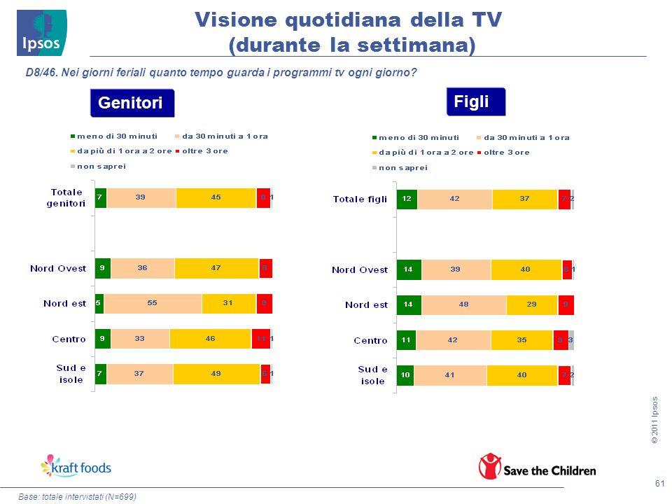 61 © 2011 Ipsos Visione quotidiana della TV (durante la settimana) Base: totale intervistati (N=699) D8/46. Nei giorni feriali quanto tempo guarda i p